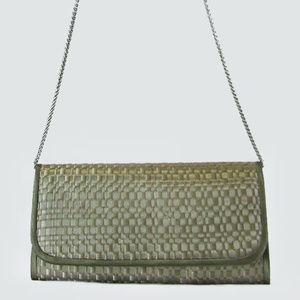 ADRIANNA PAPELL Grey/Greenish Satin Clutch $92.00